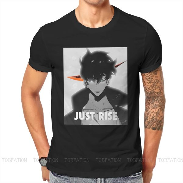JUST RISE Style TShirt Solo Leveling Sung Jin Woo Yoo Jin Ho Anime Comfortable Hip Hop - Solo Leveling Merch Store