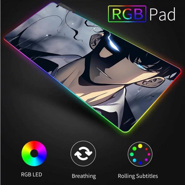 Solo Leveling Anime RGB High Quality Large Mouse Pad Laptop Anime Keyboard Pad LED USB Gaming 3 - Solo Leveling Merch Store