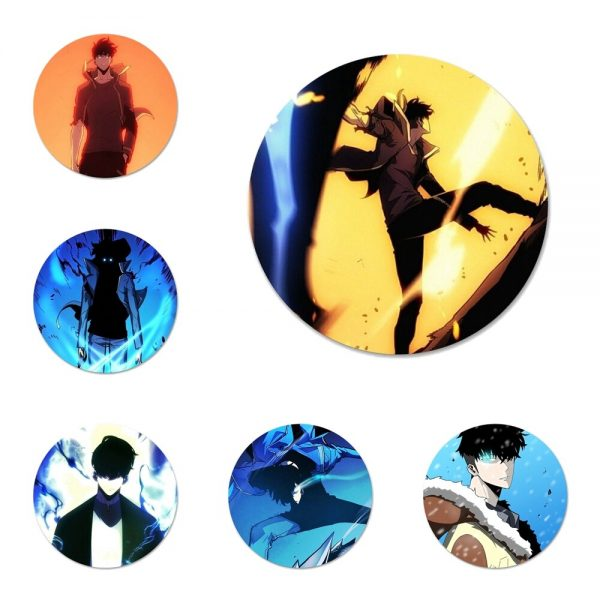 Solo Leveling Sung Jin Icons Pins Badge Decoration Brooches Metal Badges For Clothes Backpack Decoration 58mm - Solo Leveling Merch Store